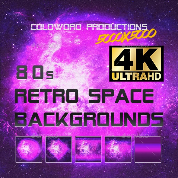 80s  Retro Synthwave Space Backgrounds 4K - Abstract Backgrounds