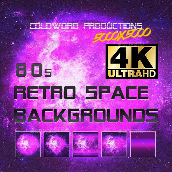 80s  Retro Synthwave Space Backgrounds 4K