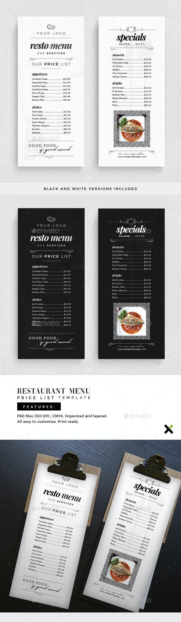 Restaurant Menu Price List Template - Restaurant Flyers