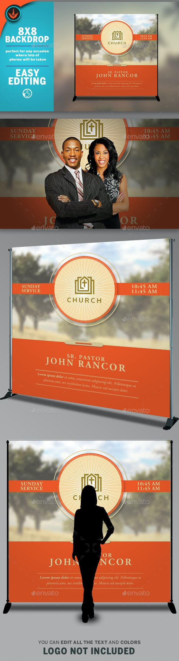 Church Backdrop Banner Template - Signage Print Templates