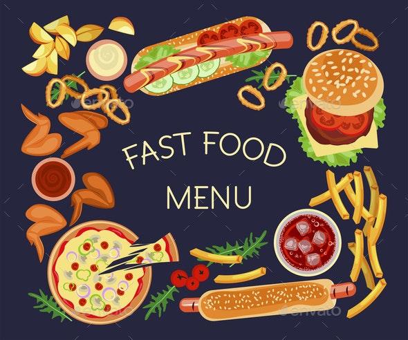 Fast food restaurant menu - Food Objects