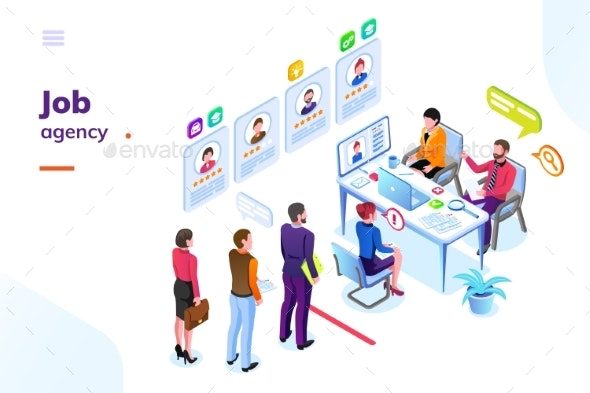 Job or Hiring Recruitment Agency Isometric View - Business Conceptual
