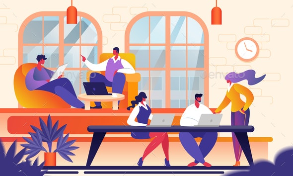 Creative Young People in Modern Coworking Office - People Characters