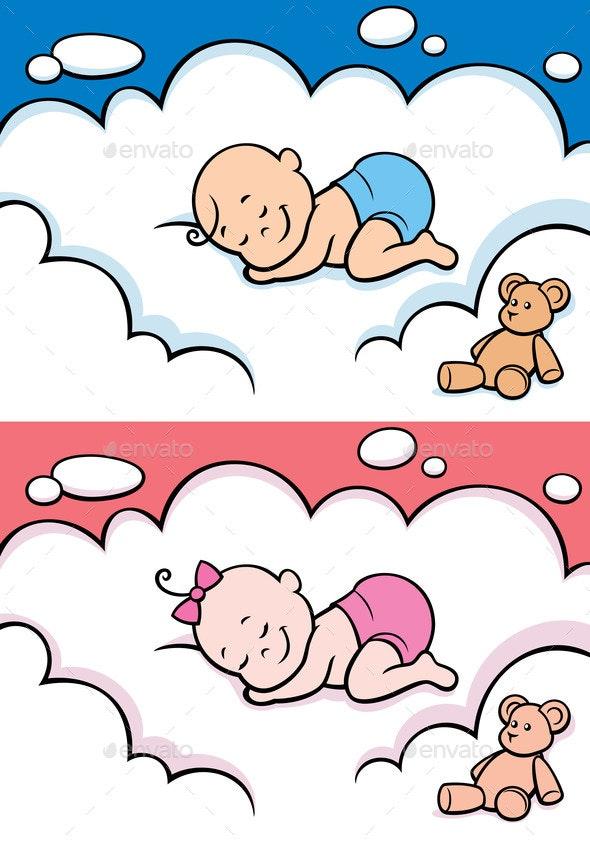 Sleeping Baby in Diaper - People Characters