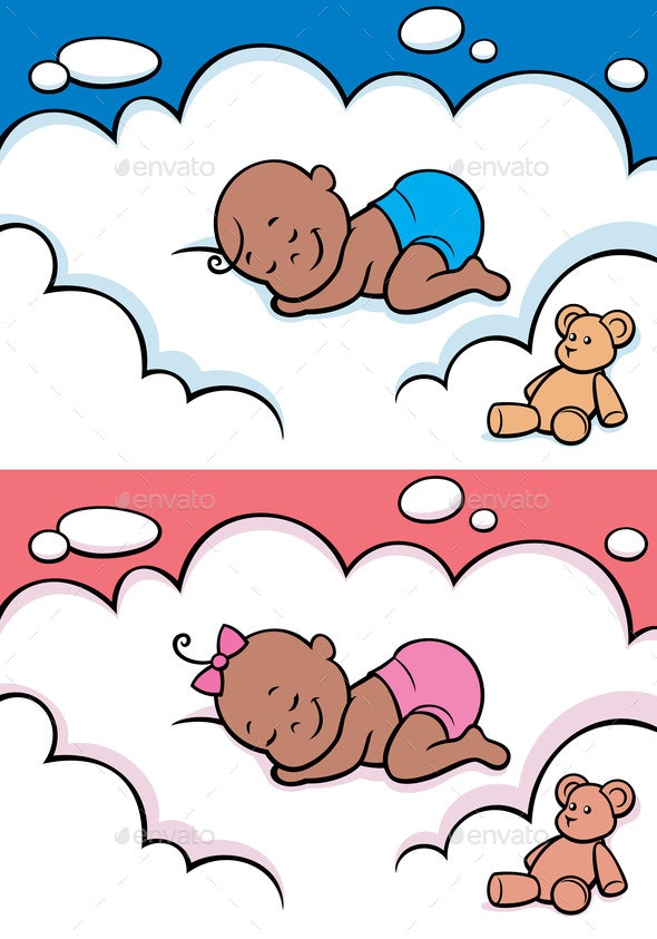 Sleeping Baby in Diaper - People Characters