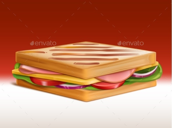 Sandwich with Meat, Cheese and Vegetables Vector - Food Objects