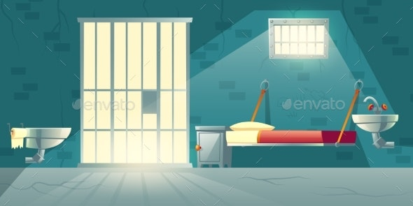 Prison Single Cell Interior Cartoon Vector - Buildings Objects