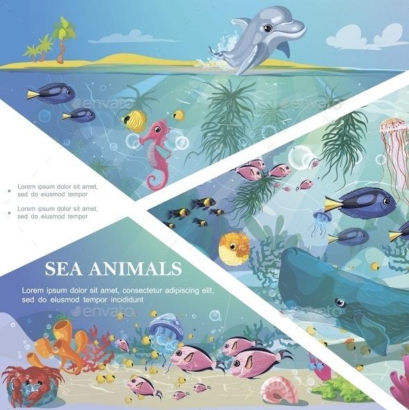 Cartoon Underwater Life Template - Animals Characters