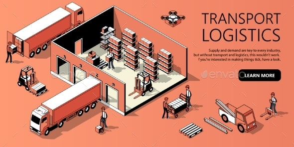 Vector Isometric Site Template - Transport - Backgrounds Business