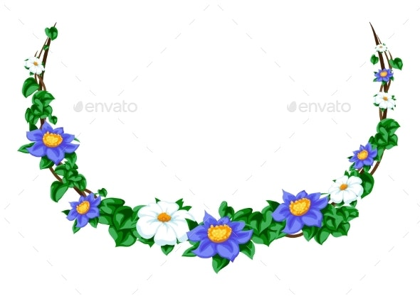 Twisted Wild Flower Branches Frame - Flowers & Plants Nature