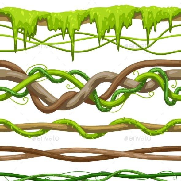 Twisted Wild Liana Branch Seamless Patterns