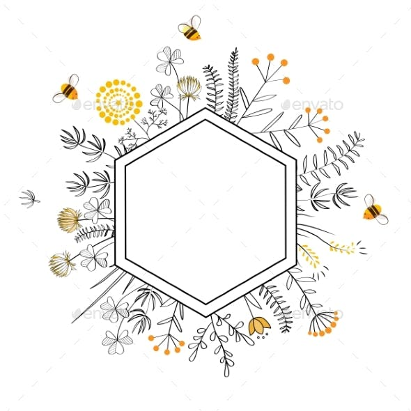 Frame with Honey Flowers and Bees