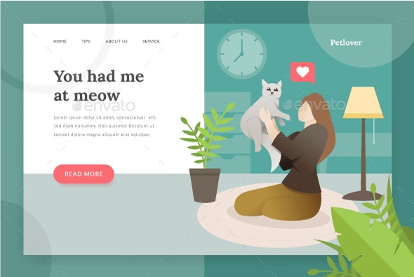 Pet Lover Landing Page - Web Elements Vectors