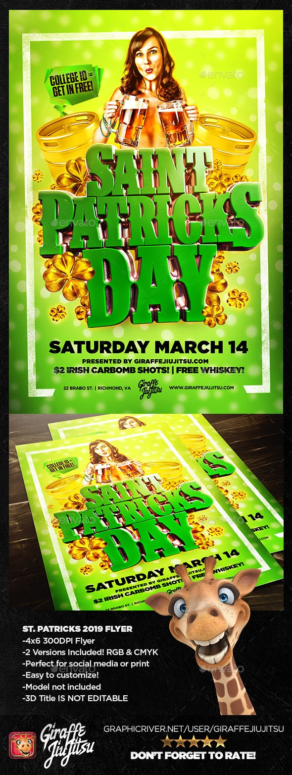 St. Patrick's Day 2019 Flyer Template - Holidays Events