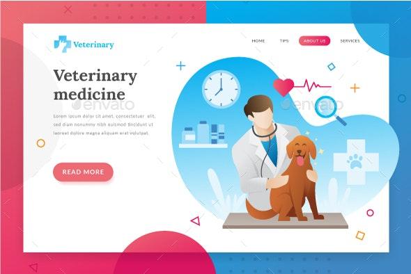 Veterinarian Landing Page - Web Elements Vectors