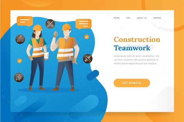 Construction Teamwork - Landing Page - Banners & Ads Web Elements