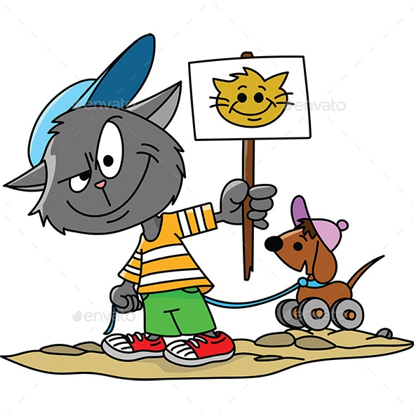 Cartoon Cat Holding a Protest Card in His Hands Vector Illustration - Animals Characters