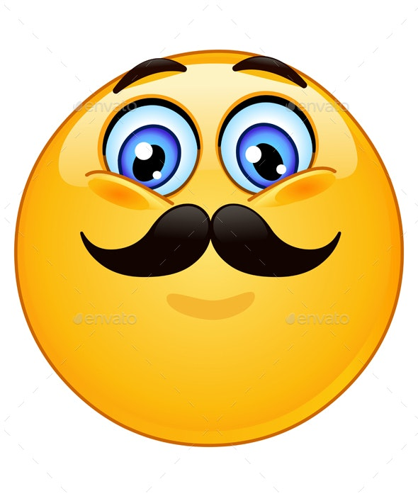 Emoticon with Mustache - People Characters