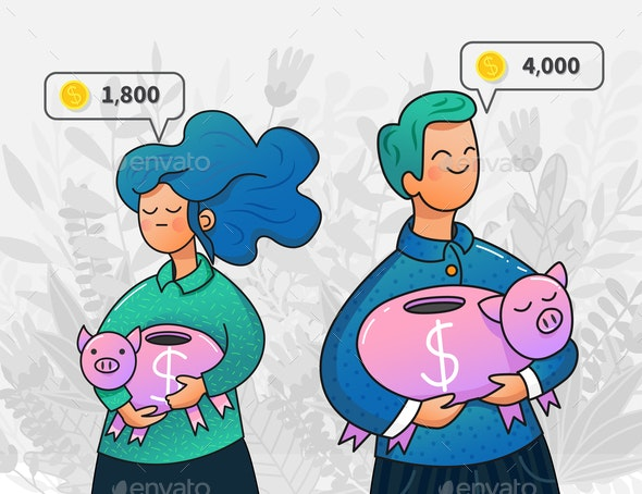 Vector Man and Woman Holding Piggy Banks - Concepts Business