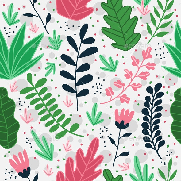 Vector Seamless Pattern with Exotic Floral - Flowers & Plants Nature