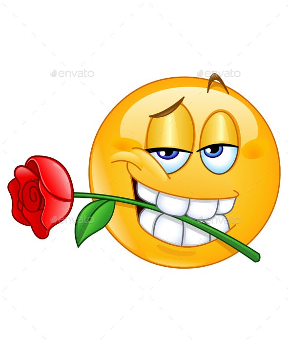 Emoticon with Rose Between Teeth