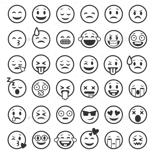 Emoticons Outline - People Characters