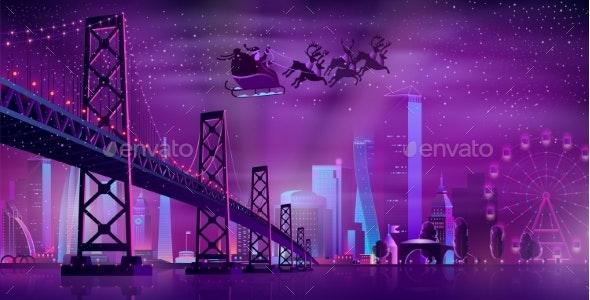 Christmas Night in Metropolis Cartoon Vector - Christmas Seasons/Holidays