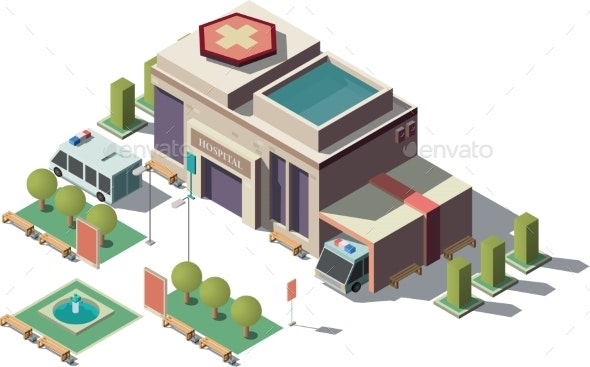 Vector Isometric Hospital - Health/Medicine Conceptual