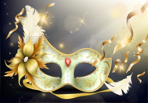Precious Face Carnival Mask Realistic Vector - Miscellaneous Seasons/Holidays