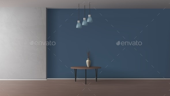 Empty Room Elegant Interior Realistic Mockup - Backgrounds Business