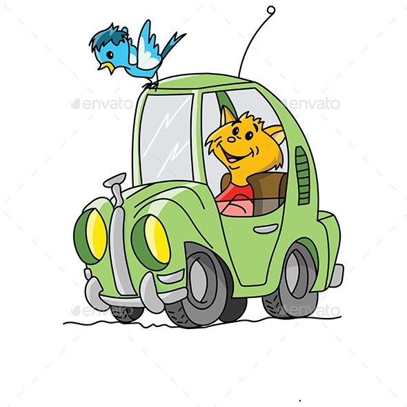 Cartoon Cat Driving a Green Car Vector Illustration - Animals Characters