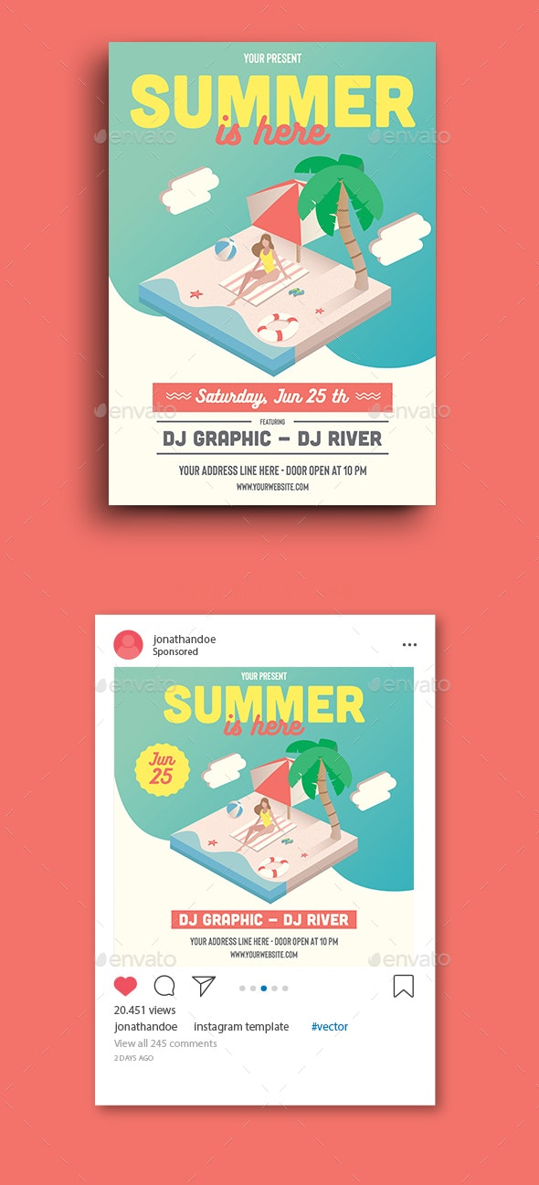 Summer Is Here Party Flyer Template - Clubs & Parties Events