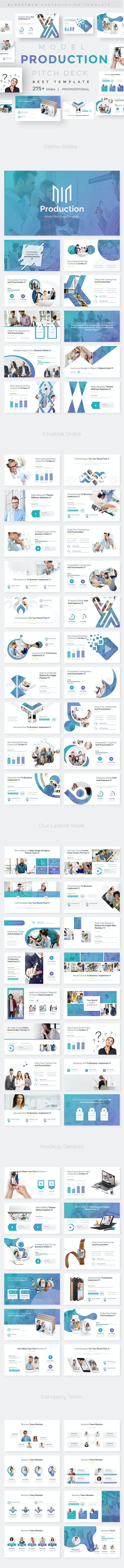 Model Production Pitch Deck Powerpoint Template - Business PowerPoint Templates