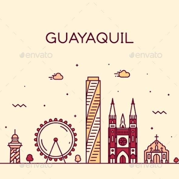 Guayaquil Skyline Ecuador Vector Linear Style City