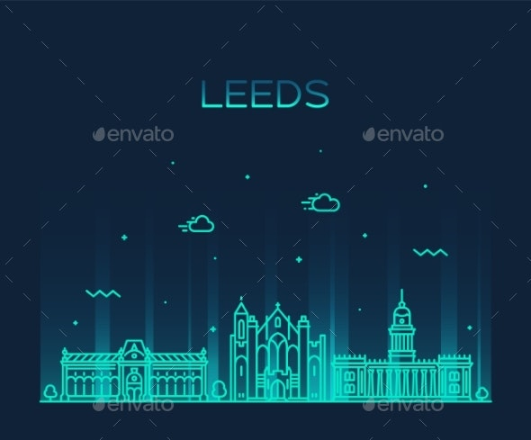 Leeds West Yorkshire England Vector Linear Style - Buildings Objects
