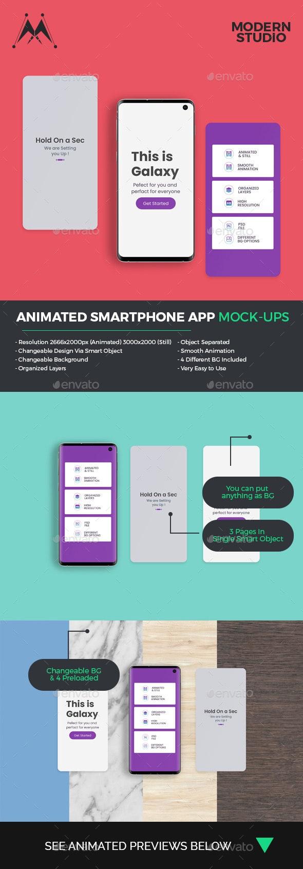 Animated Smartphone App Mockup - Mobile Displays