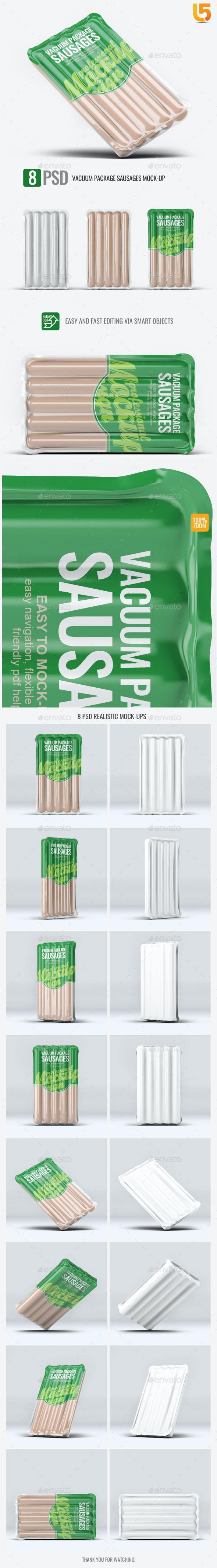 Vacuum Package Sausages Mock-Up - Food and Drink Packaging