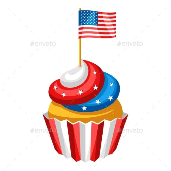 Cupcake with American Flag - Miscellaneous Seasons/Holidays