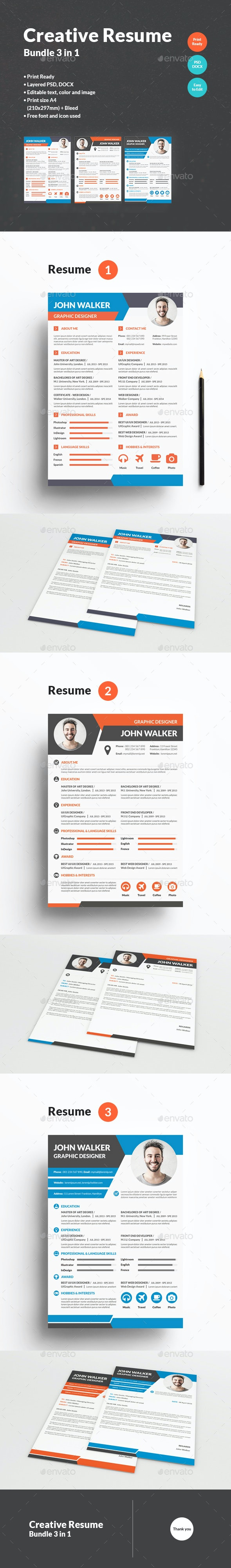 Creative Resume Bundle 3 in 1 - Resumes Stationery
