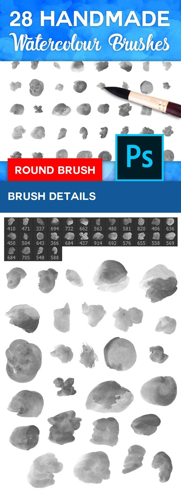 Photoshop Watercolour Brush Set - Round Tip - Artistic Brushes