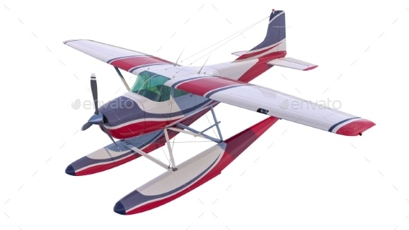 Retro Seaplane Illustration. 3D Render - Objects 3D Renders