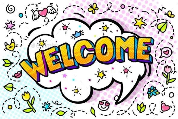Welcome Message in Comic Speech Bubble - Miscellaneous Vectors