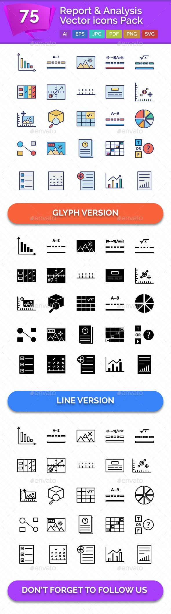 75 Report and Analysis Vector icons Pack - Icons