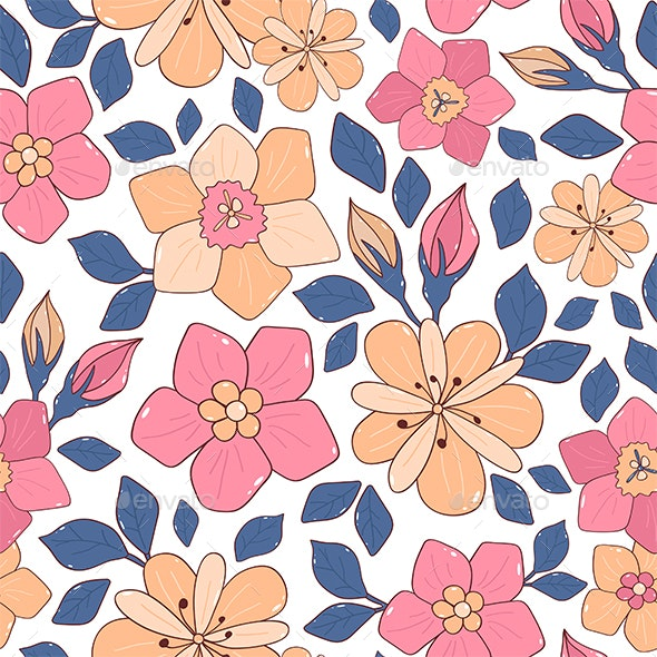Seamless Background with Flowers and Leaves - Patterns Decorative