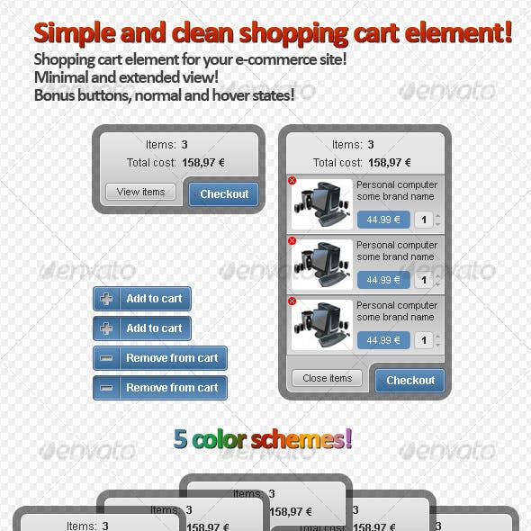 Clean Shopping Cart Element for e-commerce Site!