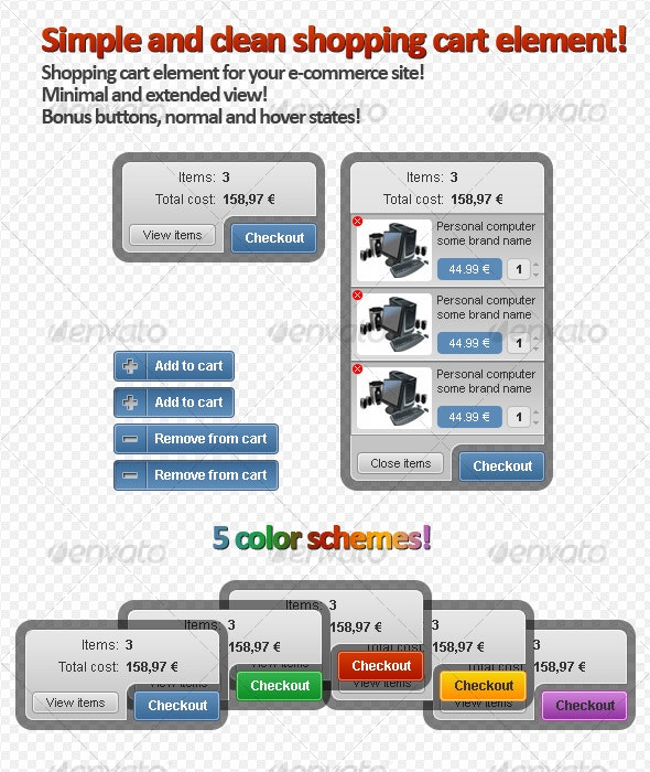 Clean Shopping Cart Element for e-commerce Site! - Forms Web Elements