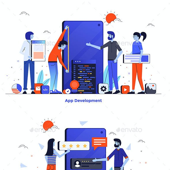 Modern Flat Design People and Business Concept for Website