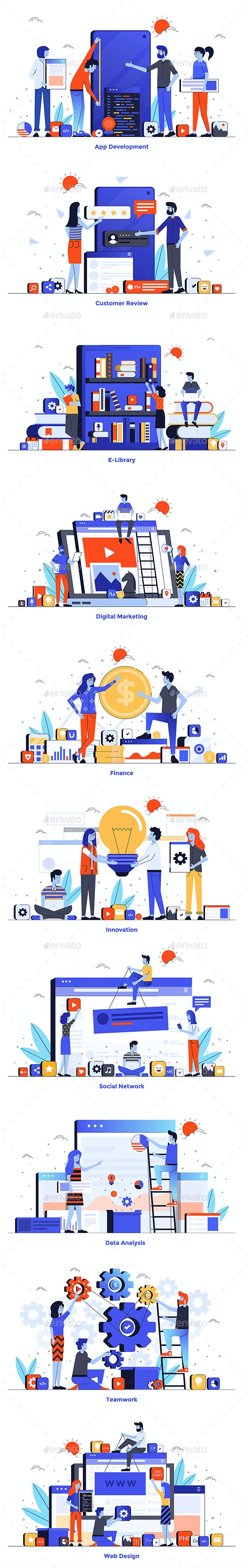 Modern Flat Design People and Business Concept for Website - People Characters