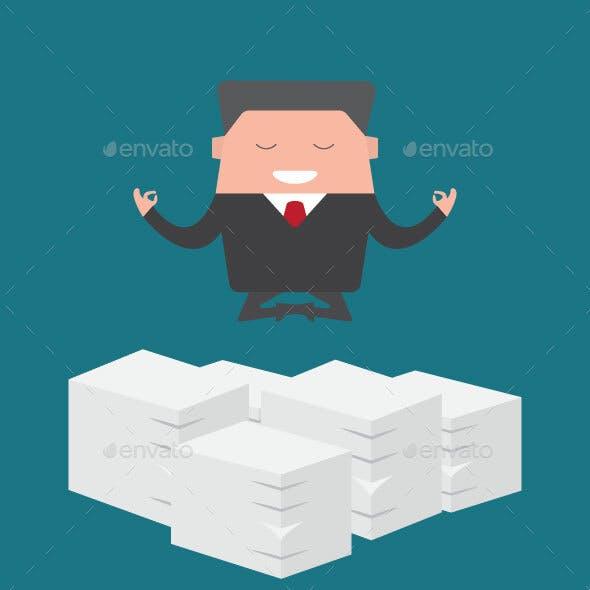 Businessman Yoga Over Documents