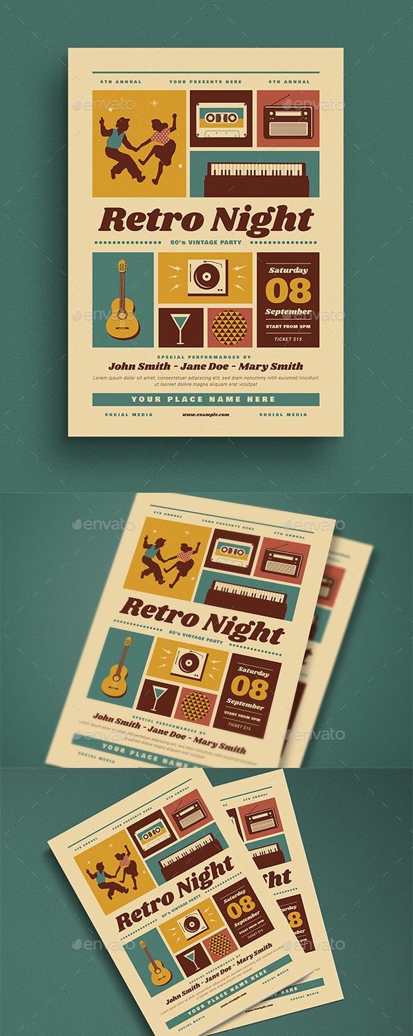 Retro Night Event Flyer - Flyers Print Templates